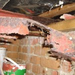 Damaged steel beam