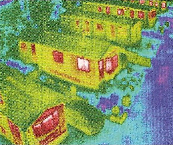 Thermographic image showing heat loss